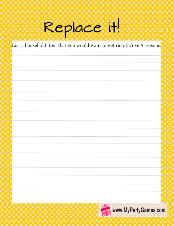 Replace it Game Printable