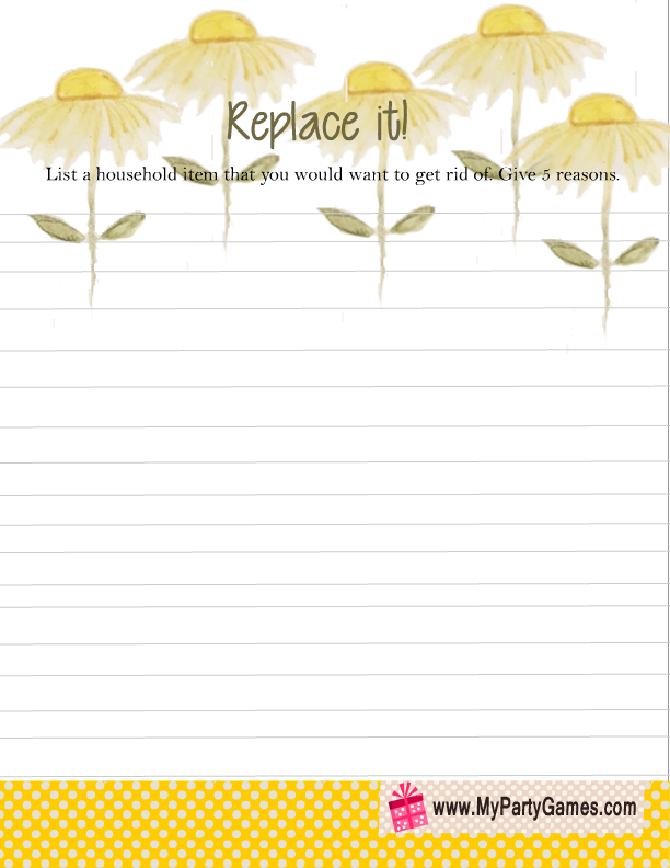 Replace it Game Printable for Couple's Baby Shower