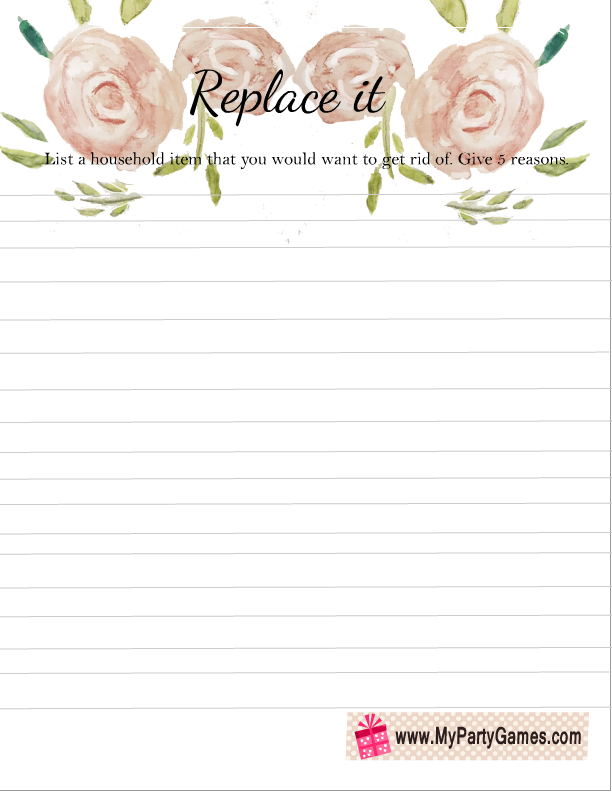 Free Printable Replace it Game for Couple's Baby Shower