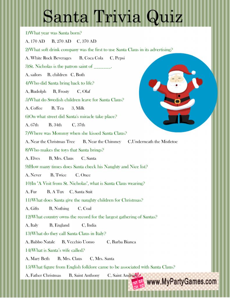 Santa Trivia Quiz Printable for Christmas