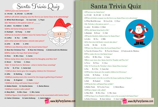 Free Printable Santa Trivia Quiz