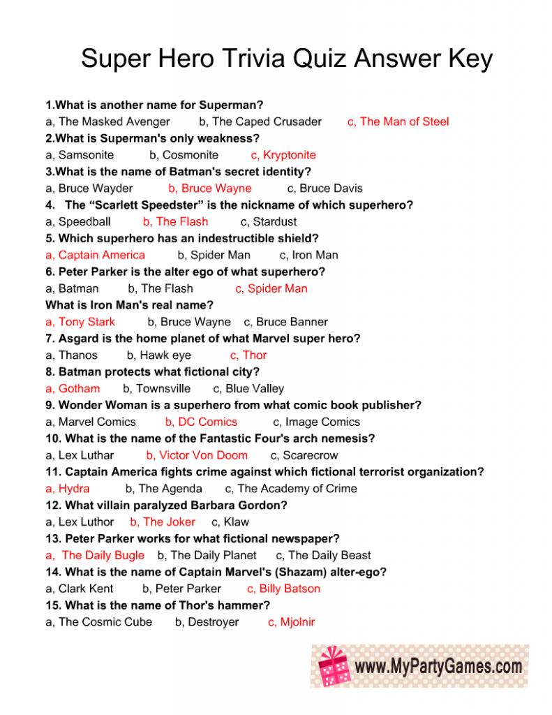 Super Hero Trivia Quiz Answer Key