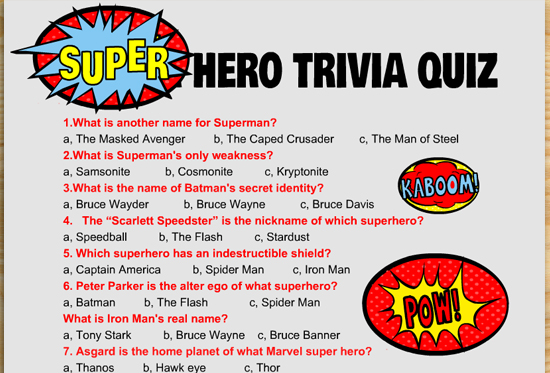 Free Printable Super Hero Trivia Quiz