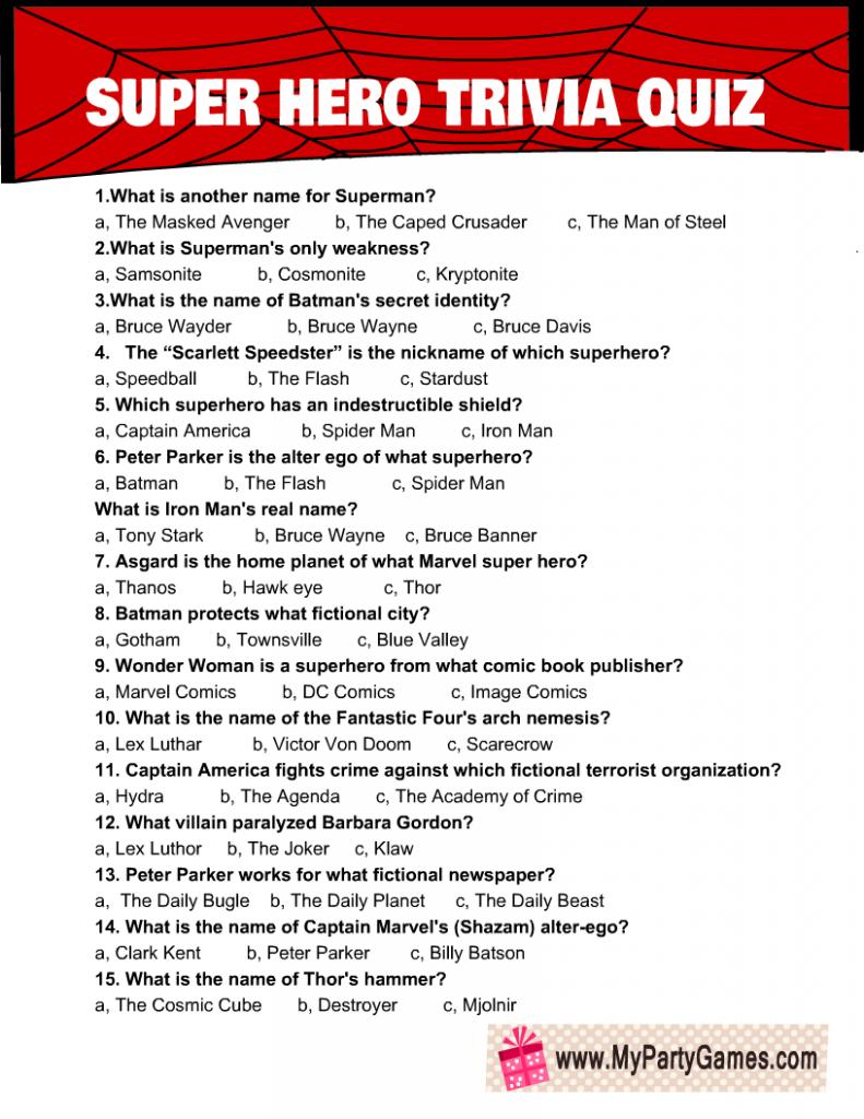 Super Hero Trivia Quiz Free Printable