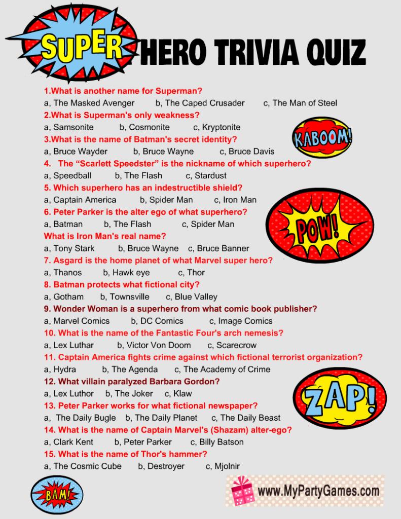 Free Printable Super Hero Trivia Quiz
