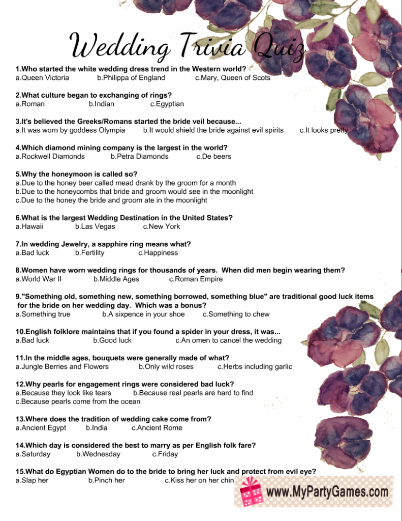 Free Printable Wedding Trivia Quiz