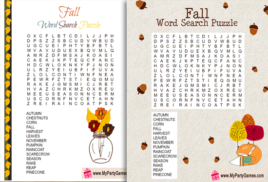 Free Printable Fall Word Search Puzzle with Solution
