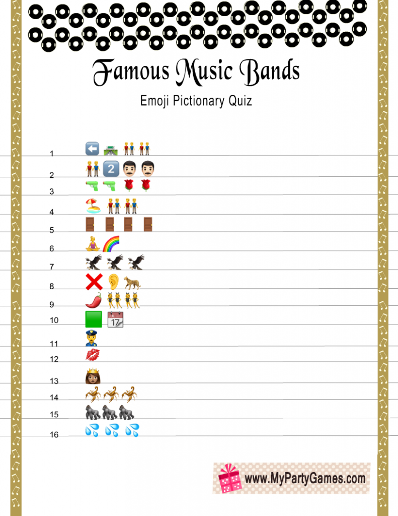 Famous Music Bands Emoji Pictionary Quiz Printable