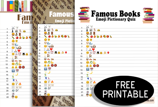 Free Printable Famous Books Emoji Pictionary Quiz