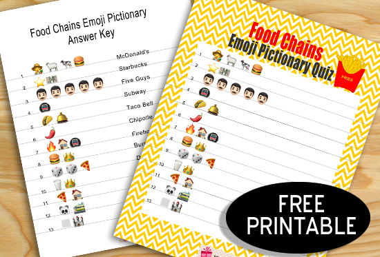 Free Printable Guess the Food Chain Emoji Pictionary Quiz
