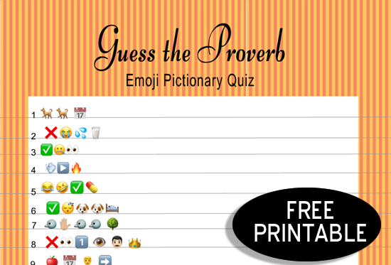 Free Printable Guess the Proverb Emoji Pictionary Quiz