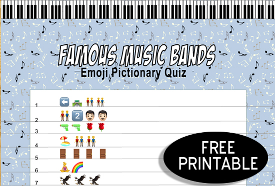 Free Printable Famous Music Bands Emoji Pictionary Quiz
