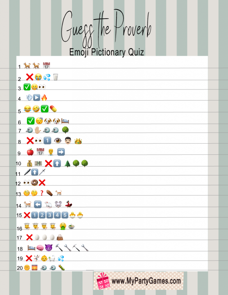 Guess the Proverb Emoji Pictionary Quiz