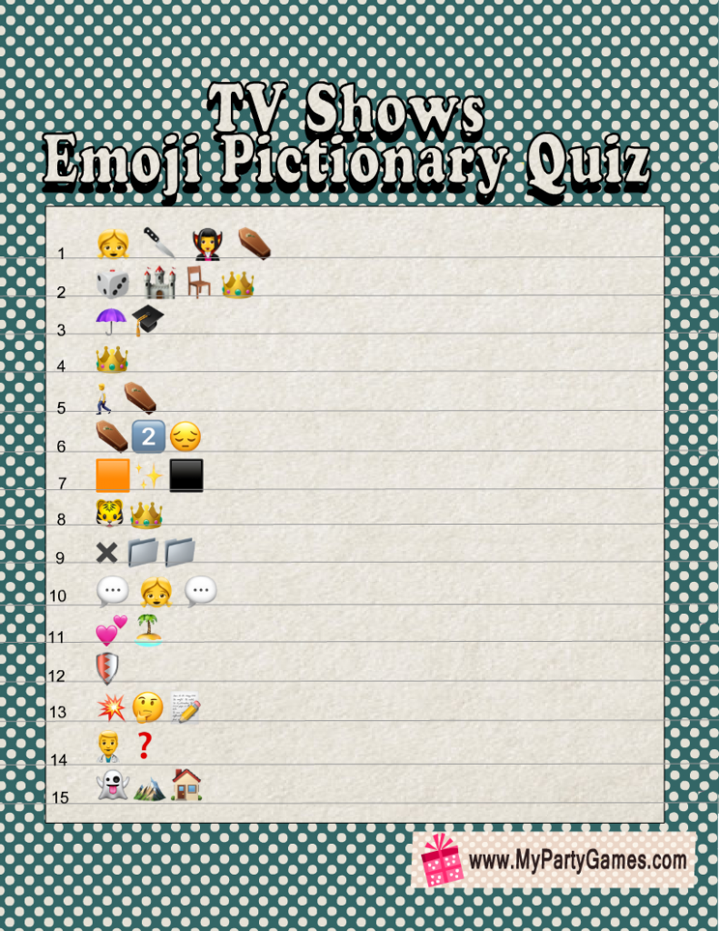 Free Printable TV Shows Emoji Pictionary Quiz