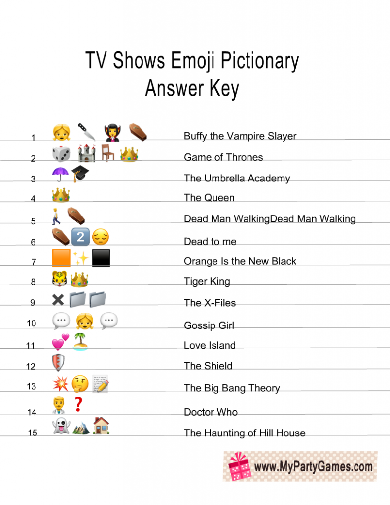 TV Shows Emoji Pictionary Quiz Answer Key