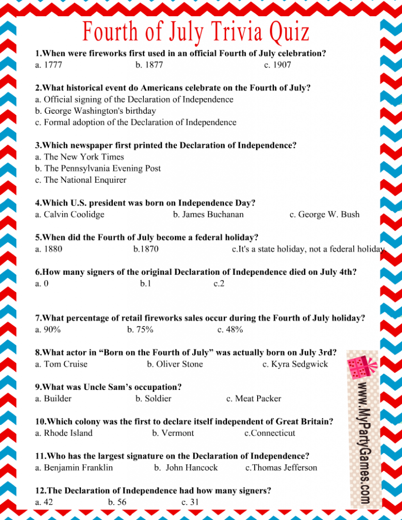 Independence Day 4th of July Trivia Quiz Printable