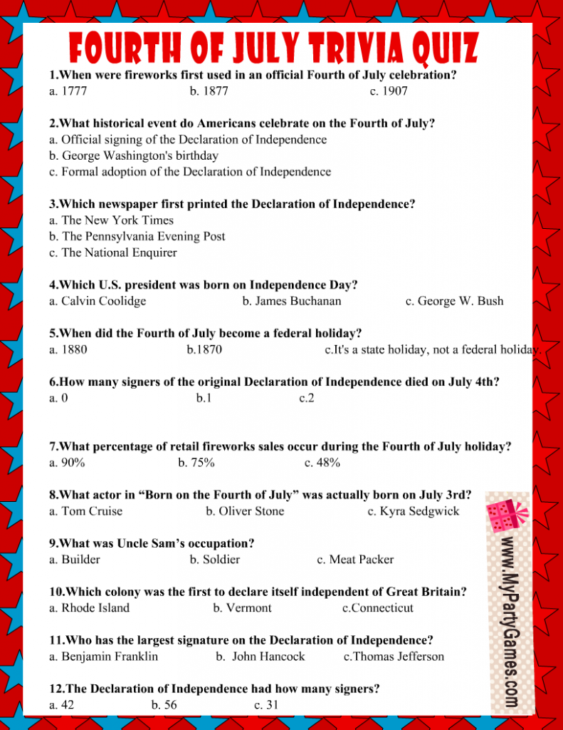 Free Printable USA Independence Day 4th of July Trivia Quiz