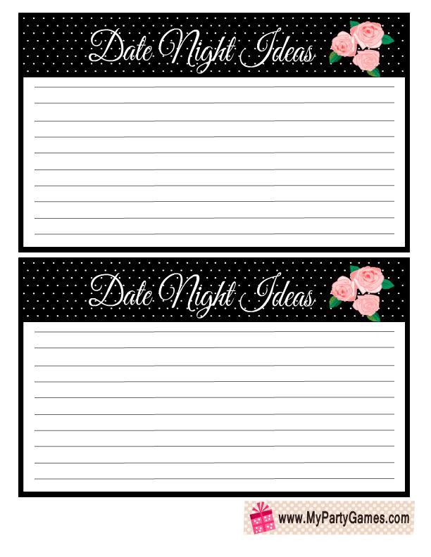 Date Night Ideas Cards Free Printable