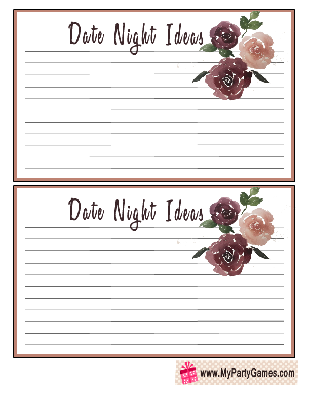 Floral Date Night Ideas Cards for Bridal Shower