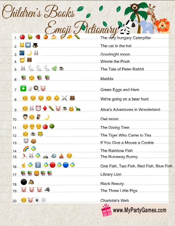 Children's Books Emoji Pictionary Answers