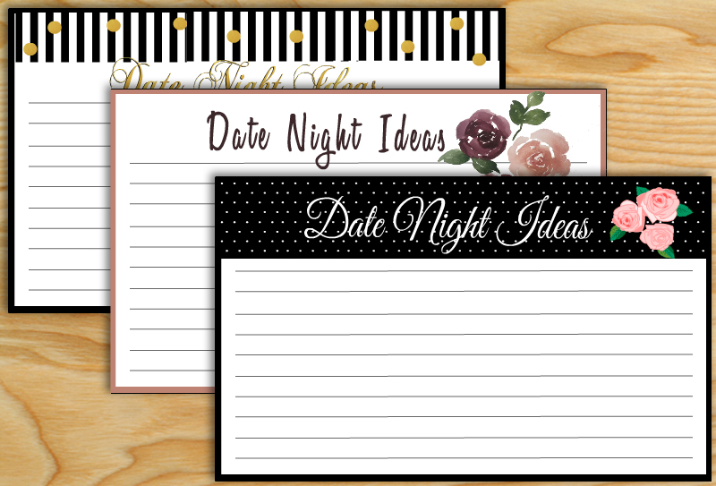 Free Printable Date Night Ideas Cards for Bridal Shower