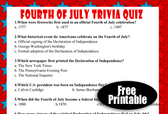 Free Printable USA Independence Day Trivia Quiz