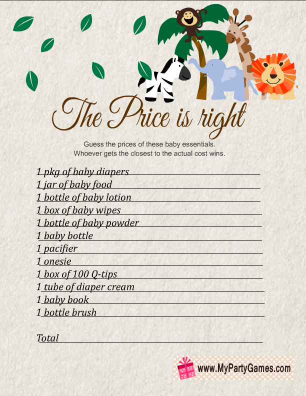 Free Printable Price is Right Game for Safari Baby Shower
