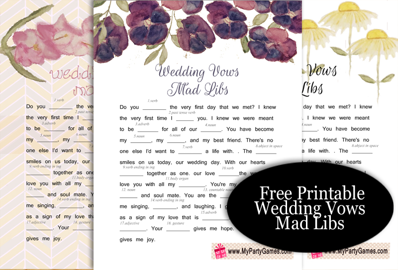 Free Printable Wedding Vows Mad Libs for Bridal Shower