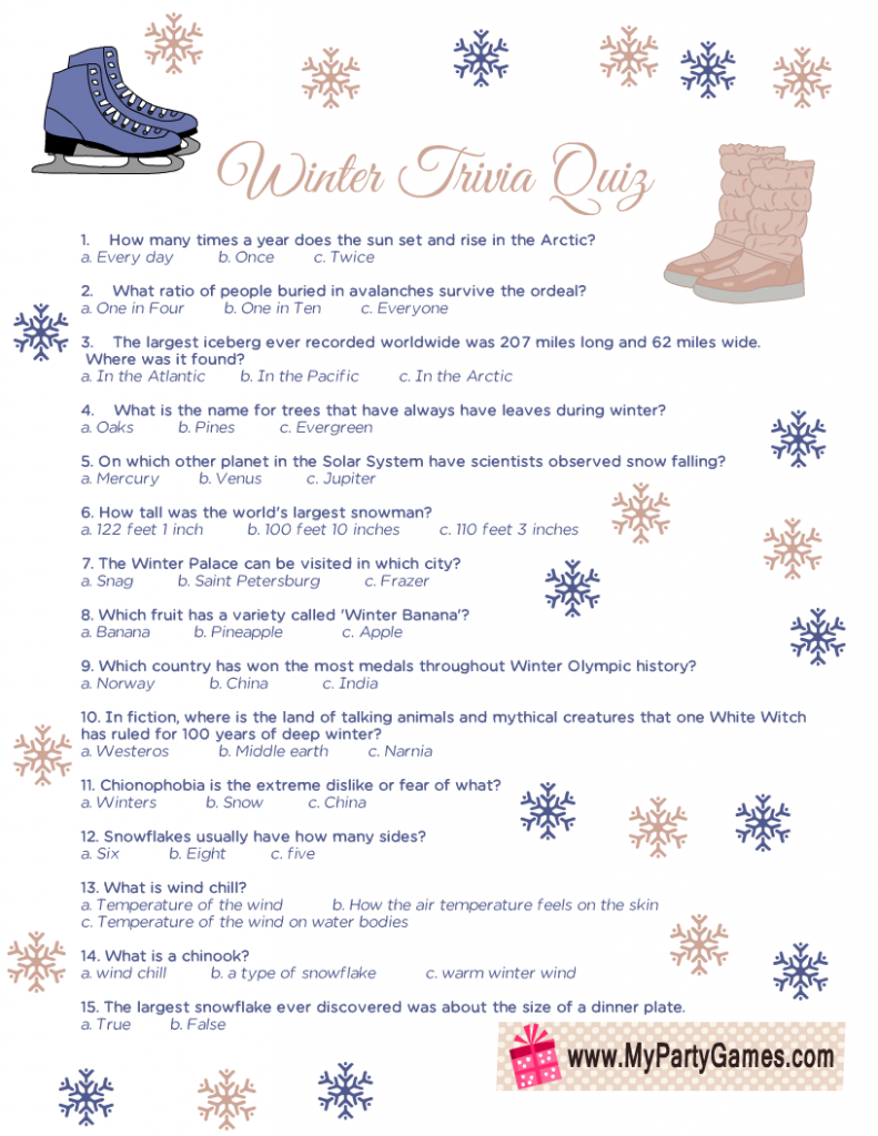 Winter Trivia Quiz Printable