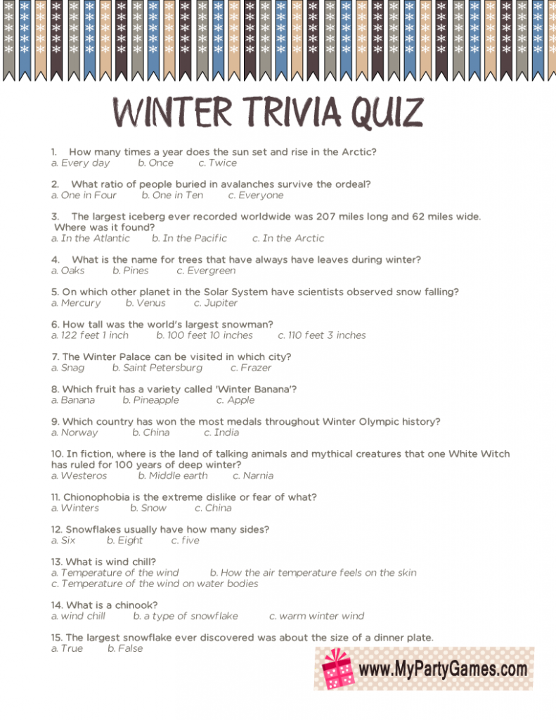 Winter Trivia Quiz Printable Worksheet
