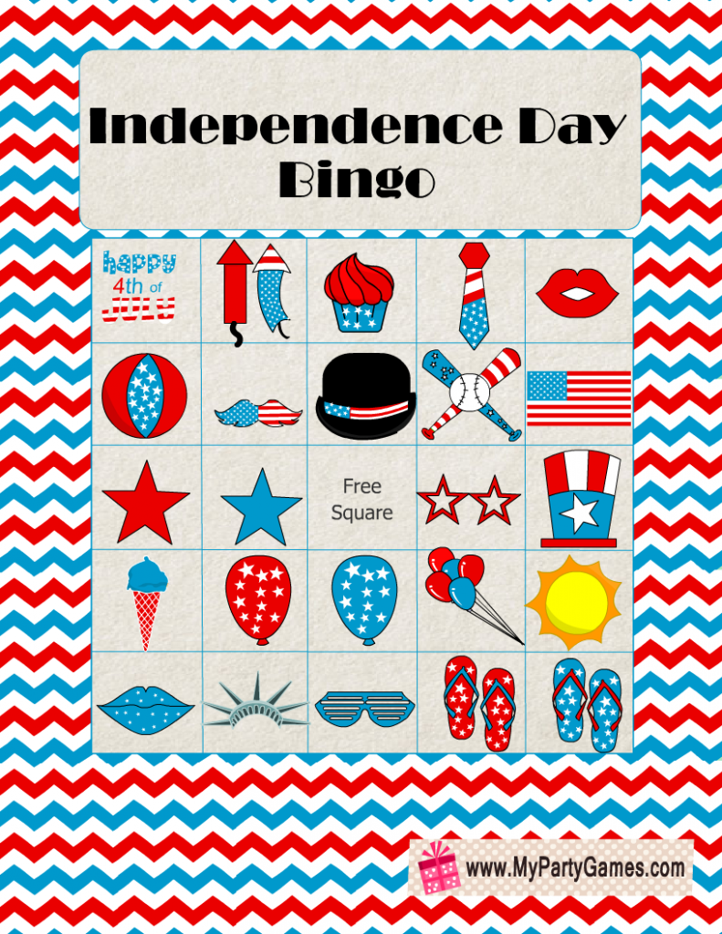 Free Printable Independence Day Bingo Cards