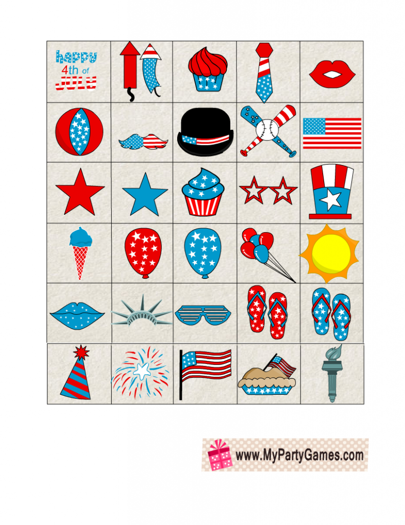 Free Printable Independence Day Bingo Caller's checklist