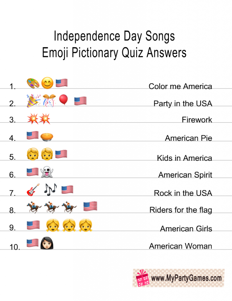 Patriotic Songs Emoji Pictionary Quiz Answer Key