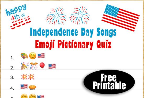 Free Printable Patriotic Songs Emoji Pictionary Quiz