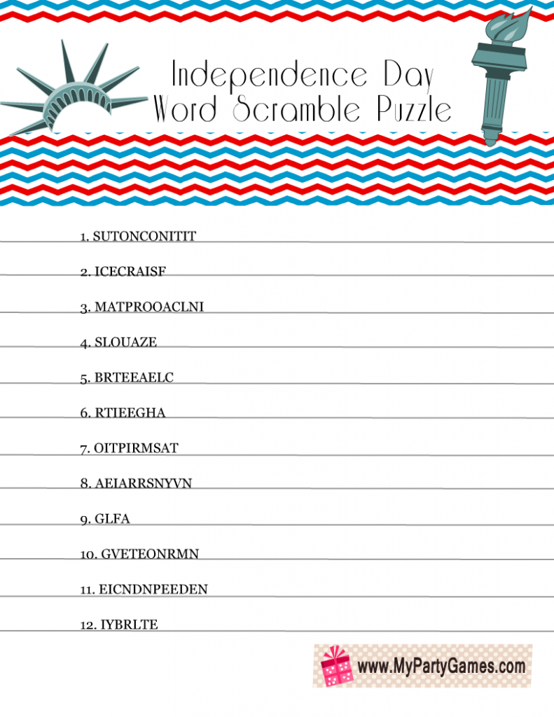 Free Printable 4th of July Word Scramble Puzzle