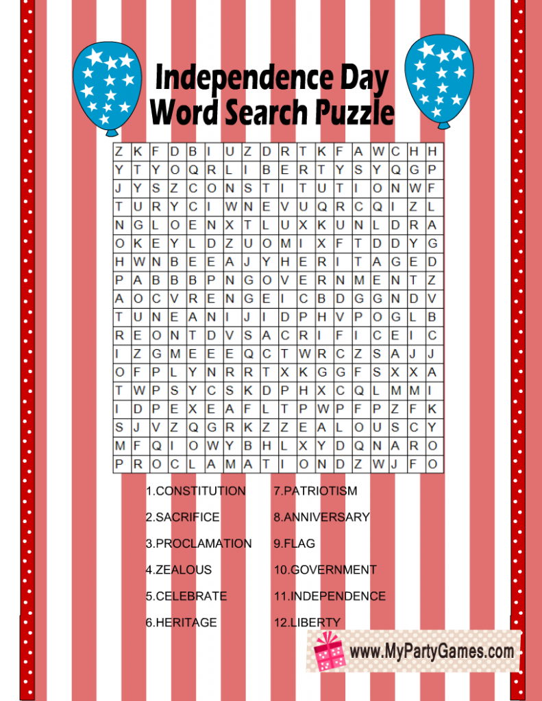 Free Printable 4th of July Word Search Puzzle