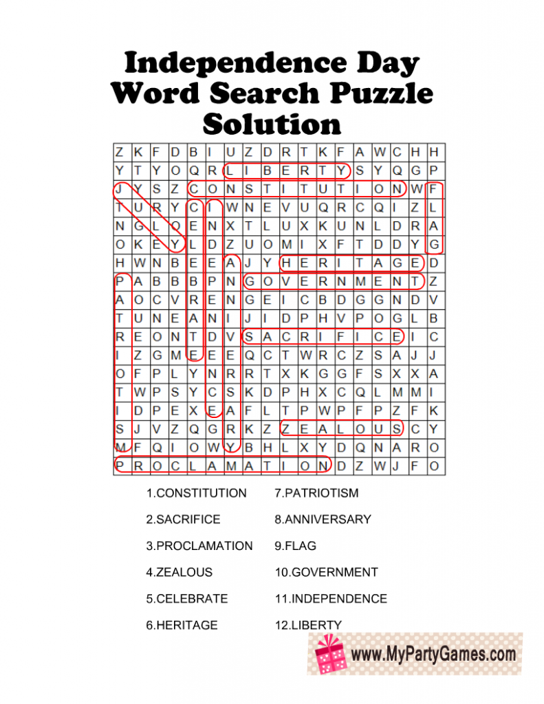 4th of July Word Search Puzzle Solution