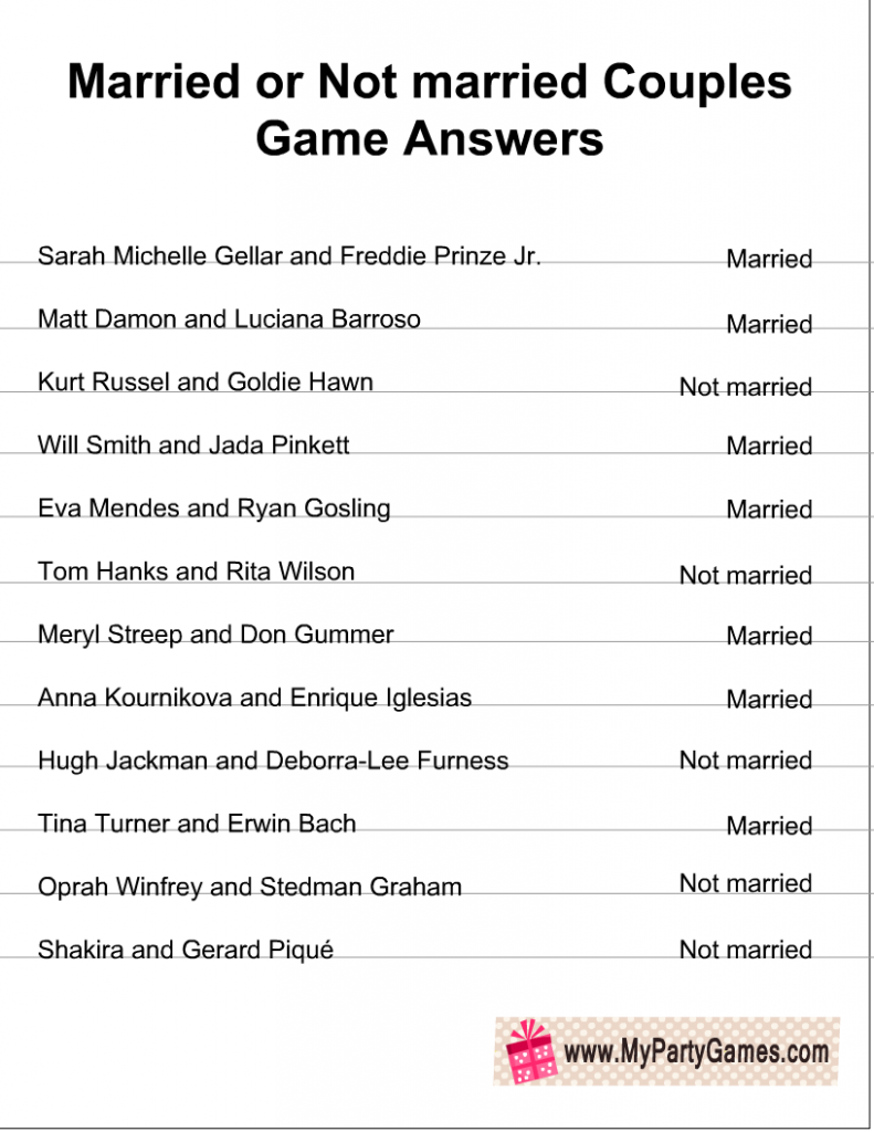Married or Not Married Game Answer Key