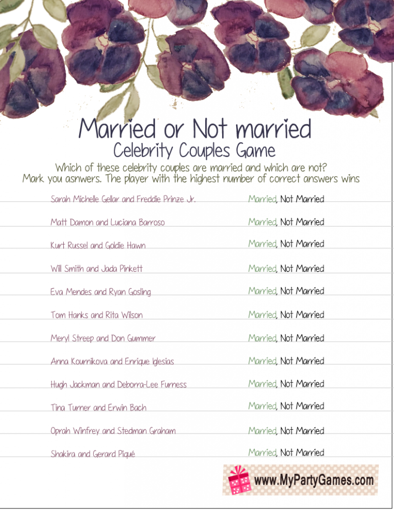 Married or Not Married Celebrity Couples Game