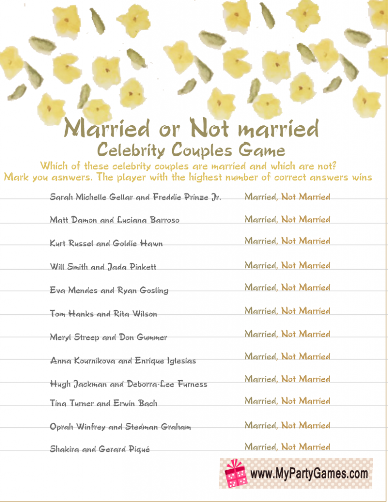 Married or Not Married Celebrity Couples Bridal Shower Game
