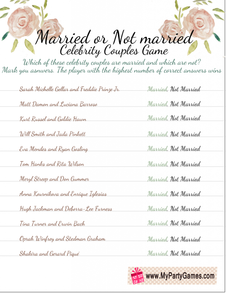 Free Printable Married or Not Married Game for Bridal Shower