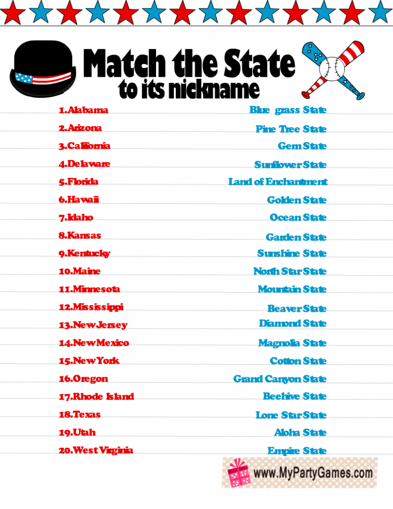 Free Printable Match the State to Its Nickname Game