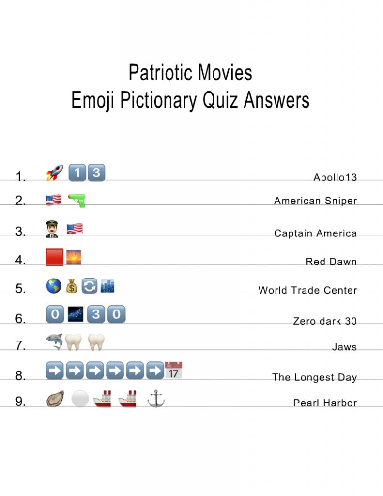 Patriotic Movies Emoji Pictionary Quiz Answer key