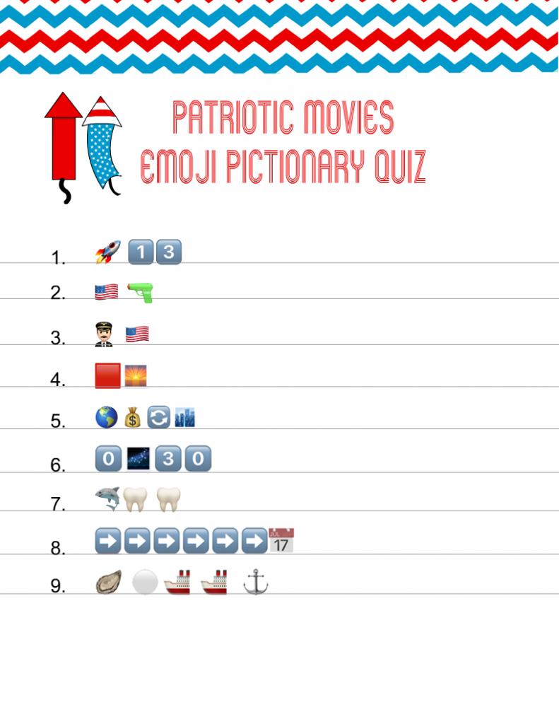 Patriotic Movies Emoji Pictionary Quiz Printable