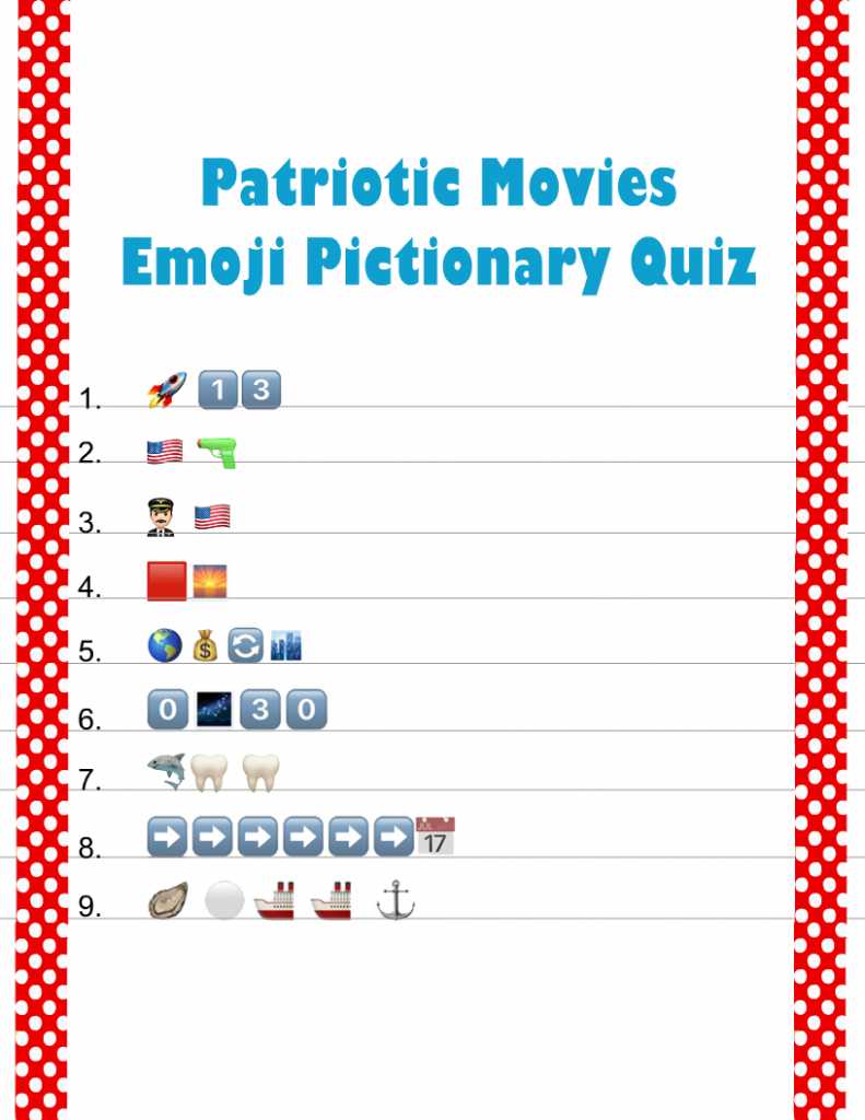 Free Printable Patriotic Movies Emoji Pictionary Quiz