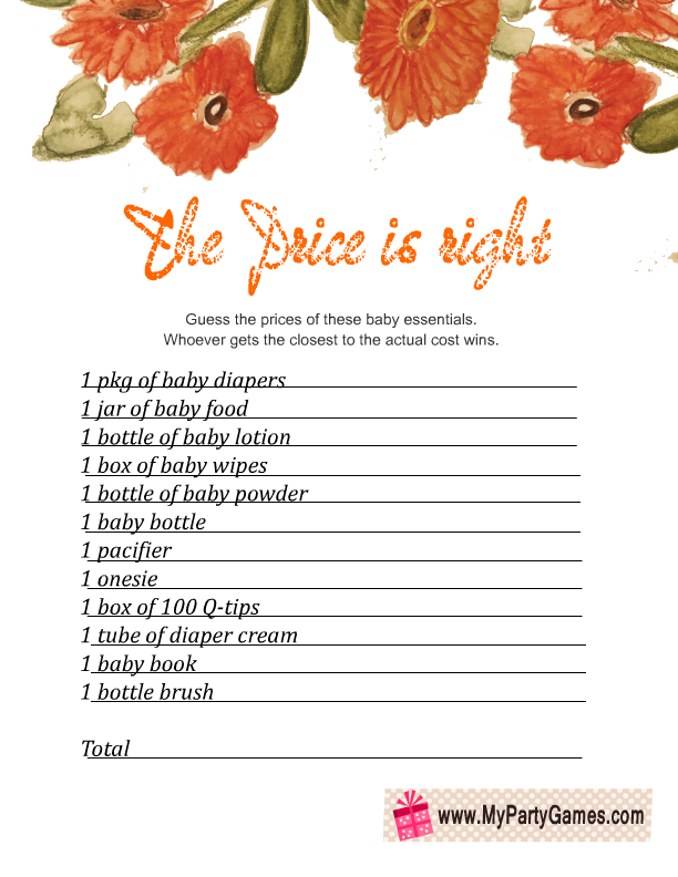 The Price is Right Baby Shower Game Free Floral Printable