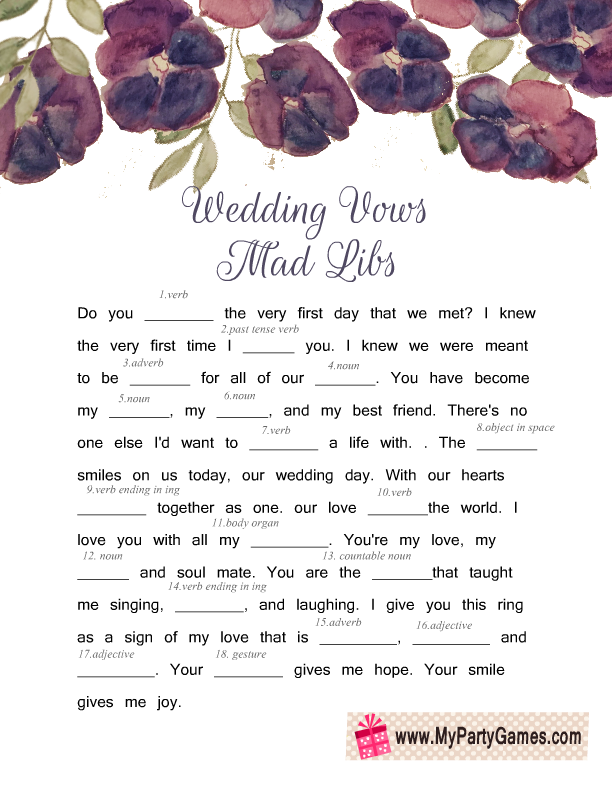 Free Printable Wedding Vows Mad Libs with Purple Flowers
