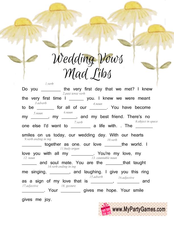 Free Printable Wedding Vows Mad Libs Game