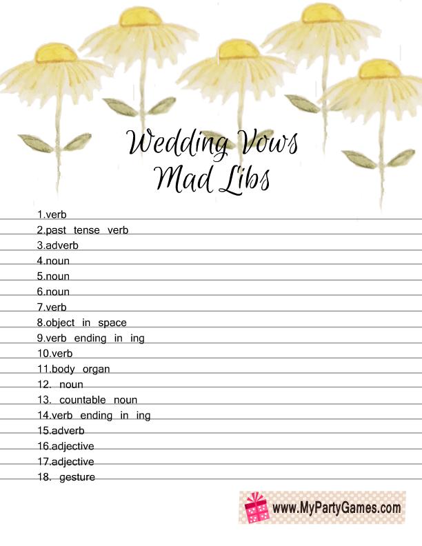 Free Printable Wedding Vows Mad Libs Game sheet 2