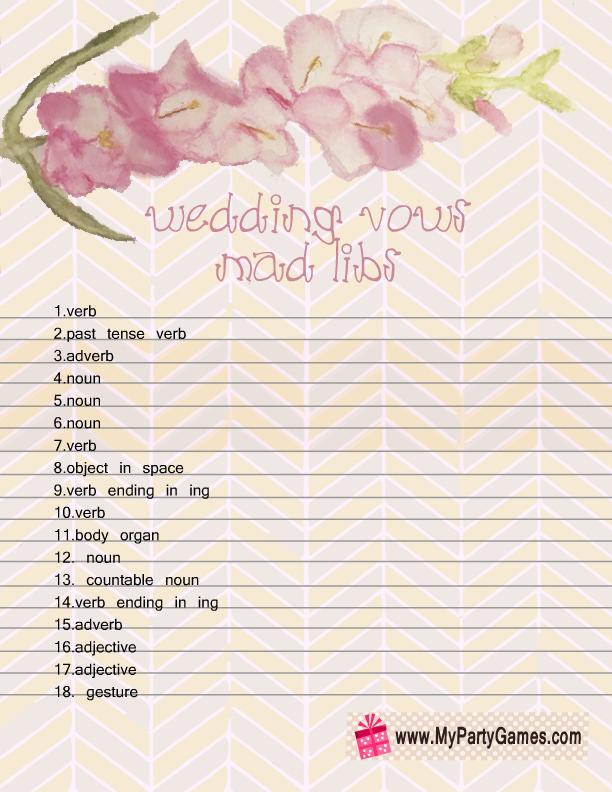 Free Printable Wedding Vows Mad Libs Sheet 2